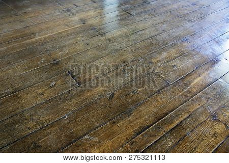Old Wooden Floor Of Boards Nailed Down
