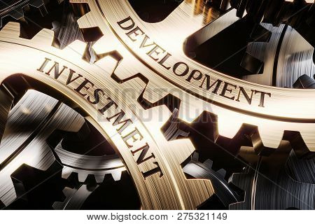 Investment And Development Gears Mechanism Concept 3d Render