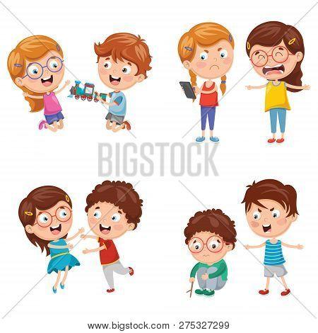 Vector Illustration Of Cartoon And Cute Kids Behaviours
