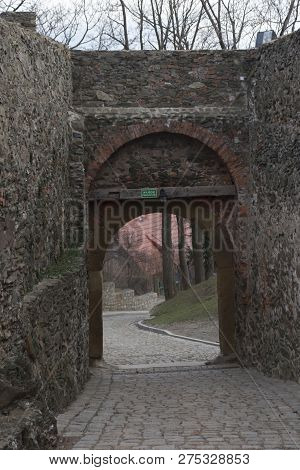 Gate In The Defensive Wall Of The Old Castle Bolkow In Lower Silesia In Poland