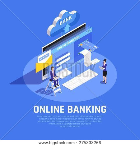 Internet Banking Isometric Composition With Online Account Login Credit Card Cloud Storage Security