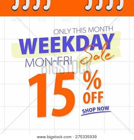 Orange Blue Weekday Sale 15 Percent Off Promotion Website Banner Heading Design On Calendar Backgrou