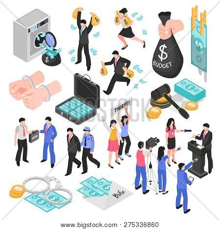 Corruption And Dishonesty Isometric Set Decorative Icons Representing Corrupt Judge Business And Pol