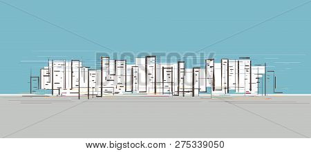Hand Drawn Sketch Of High Rise Buildings In A Busy City Center With Blue Sky And Grey Sidewalk Backg