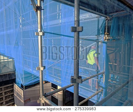 Gosford, New South Wales, Australia - October 23, 2018: Man Working On Construction And Building  Of
