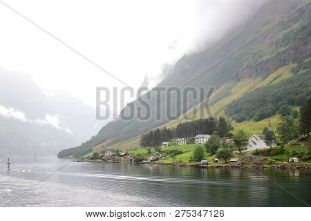 Main View Of Bakka, A Tiny Village In The Municipality Of Aurland In Sogn Og Fjordane County, Norway