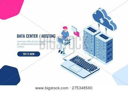 Data Calculation And Auditing Isometric, Engineer Working With Cloud Storage, Server Room, Datacente