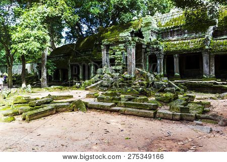 Ruin Ancient Temple With Green Mos In Cambodia