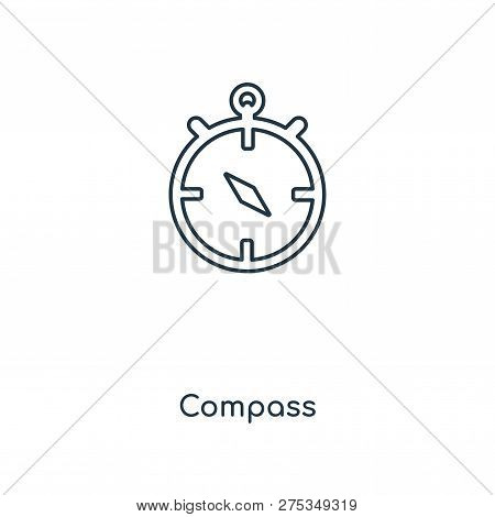 Compass Icon In Trendy Design Style. Compass Icon Isolated On White Background. Compass Vector Icon