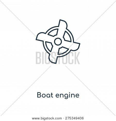 Boat Engine Icon In Trendy Design Style. Boat Engine Icon Isolated On White Background. Boat Engine