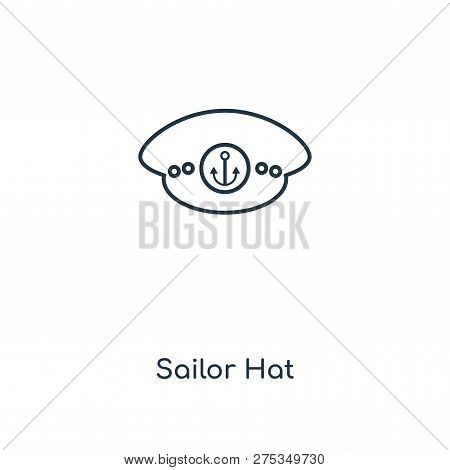Sailor Hat Icon In Trendy Design Style. Sailor Hat Icon Isolated On White Background. Sailor Hat Vec