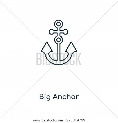 Big Anchor Icon In Trendy Design Style. Big Anchor Icon Isolated On White Background. Big Anchor Vec