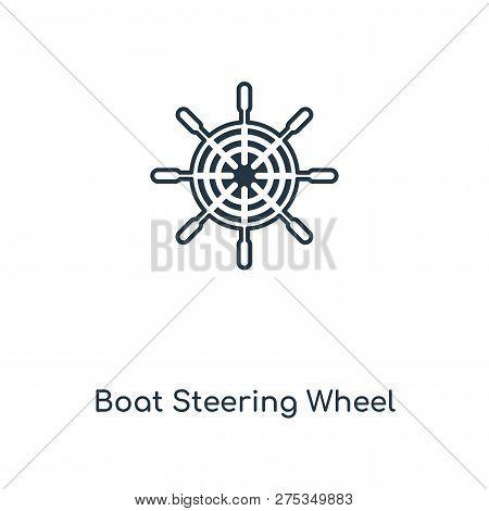 Boat Steering Wheel Icon In Trendy Design Style. Boat Steering Wheel Icon Isolated On White Backgrou