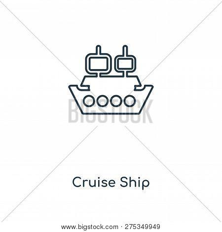 Cruise Ship Icon In Trendy Design Style. Cruise Ship Icon Isolated On White Background. Cruise Ship