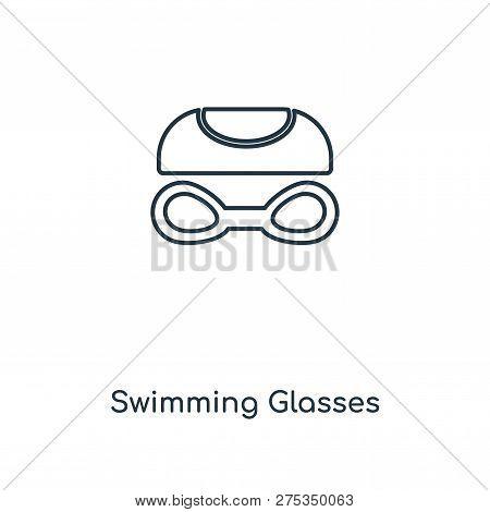 Swimming Glasses Icon In Trendy Design Style. Swimming Glasses Icon Isolated On White Background. Sw
