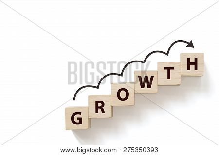 Business Success Growing Growth Increase Up Concept. Wooded Cube Block On White Background With Word
