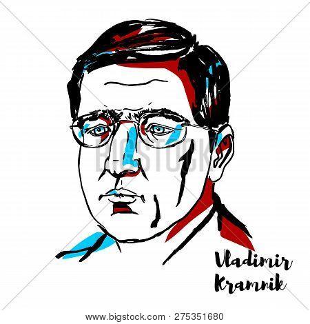 China, Chenghai - December 18, 2018: Vladimir Kramnik Engraved Vector Portrait With Ink Contours.  R