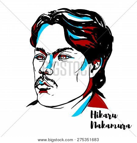 China, Chenghai - December 20, 2018: Hikaru Nakamura Engraved Vector Portrait With Ink Contours. Jap
