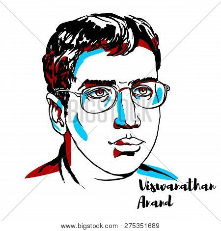 China, Chenghai - December 20, 2018: Viswanathan Anand Engraved Vector Portrait With Ink Contours. I
