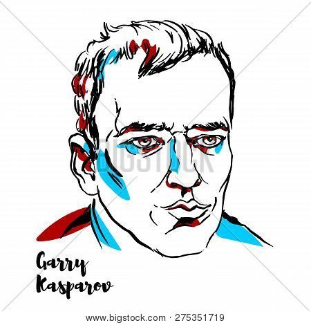 China, Chenghai - December 17, 2018: Garry Kasparov Engraved Vector Portrait With Ink Contours.  Rus