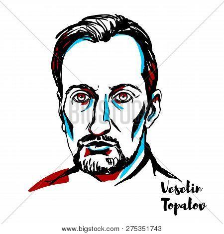 China, Chenghai - December 18, 2018: Veselin Topalov Engraved Vector Portrait With Ink Contours. Bul
