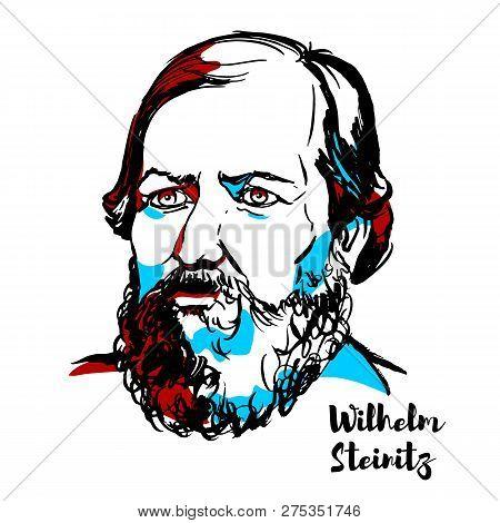 China, Chenghai - December 16, 2018: Wilhelm Steinitz Engraved Vector Portrait With Ink Contours. Am