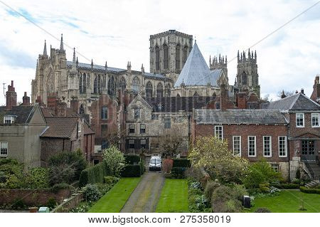 York, England - April 2018: York Minster, Historic Cathedral Built In English Gothic Style, And Buil