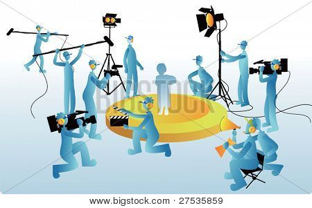 Film Maker and working staff - at the TV studio and set  for movie films with production crew