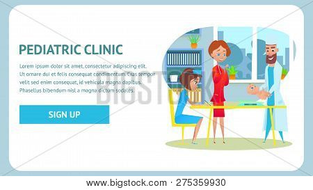 Pediatric Clinic Checkup Banner. Childcare Nurse and Healthy Neonate at Pediatric Examination. Flat Cartoon Illustration. Pediatrician Doctor Specialist in Hospital Office. Healthcare Diagnosis. poster