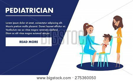 Pediatrician Checkup Banner. Doctor Examining a Boy Heart with Stethoscope. Mom with Kid Waiting for Specialist Consultation and Treatment. Flat Cartoon Caracter Illustration. Preschool Examination. poster