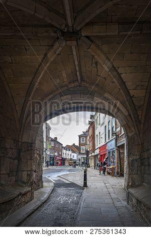 York, England - April 2018: Thoroughfare Under Monk Bar, Main Gatehouses Or Bars Of York City Walls,