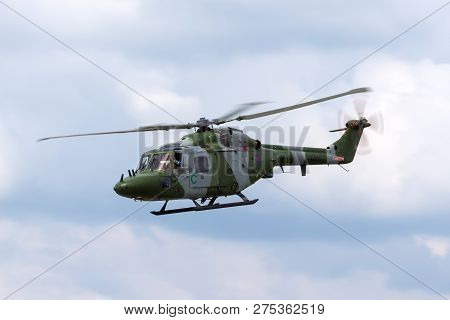 Farnborough, Uk - July 21, 2014: Royal Army Air Corps Westland Lynx Ah7 Helicopter.