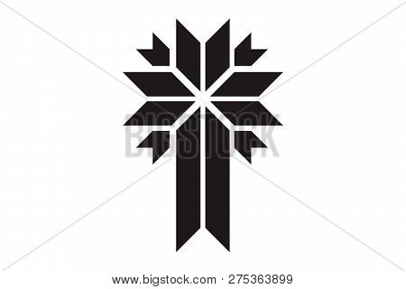 Cross of christian religion. Isolated orthodoxy and catholicism divine symbol in shape of cross, Jesus Christ and God, faith sign. Church and pray, religion and resurrection poster