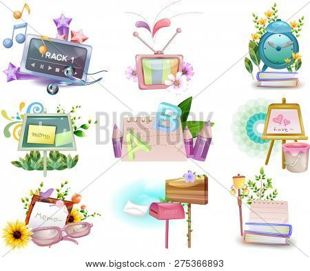 Memo and school supply icon set
