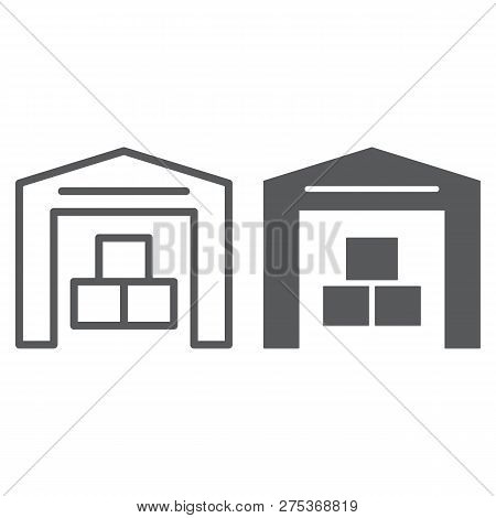 Warehouse Line And Glyph Icon, Building And Store, Storage Sign, Vector Graphics, A Linear Pattern O