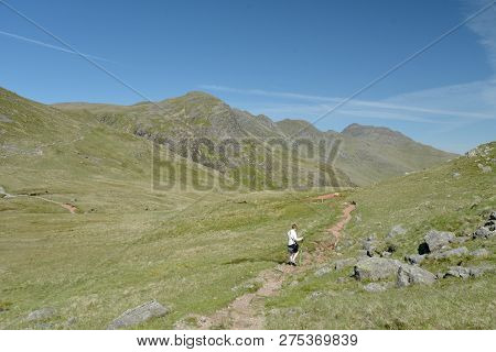 Path To Pike Of Blisco Beneath Crinkle Crags In The English Lake District