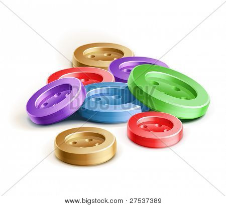 set of coloured button vector illustration isolated on white background