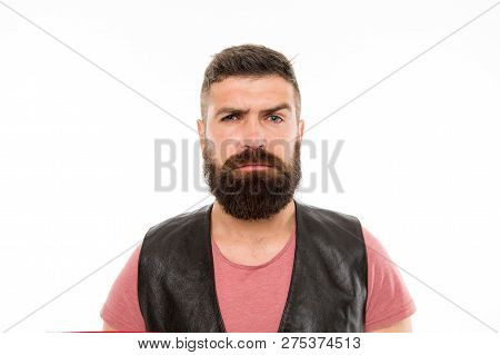 Brutal Caucasian Hipster With Moustache. Male Barber Care. Serious Man Hipster. Bearded Man. Hair An