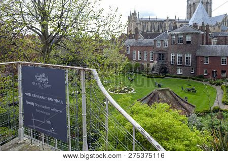 York, England - April 2018: Old Building Of Grays Court Hotel And Restaurant In Old Town Seen From Y