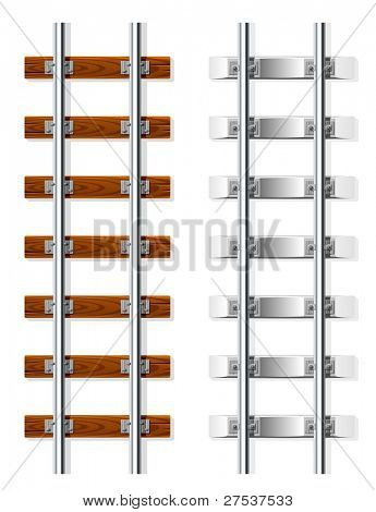 railroad with wooden and cement sleeper vector illustration isolated on white background