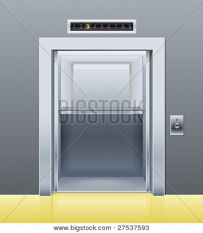 elevator with opened door vector illustration poster