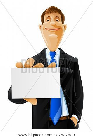 handsome man with card vector illustration isolated on white background