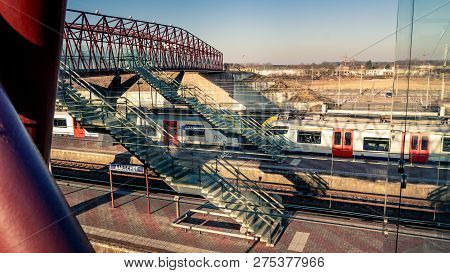 Aarschot, Vlaams-brabant, Belgium - February 24, 2018 : High Angle View On Platforms Of The Aarschot