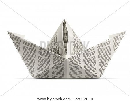 paper ship origami vector illustration isolated on white background