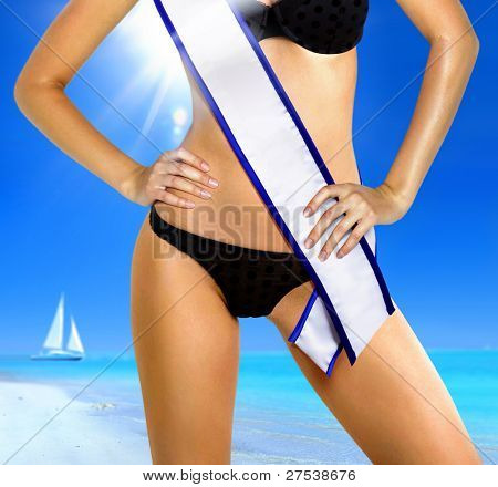 part of woman shape in underwear with white tape of beauty contest poster