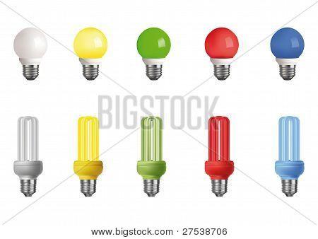 Ten Multi-colored Lamps