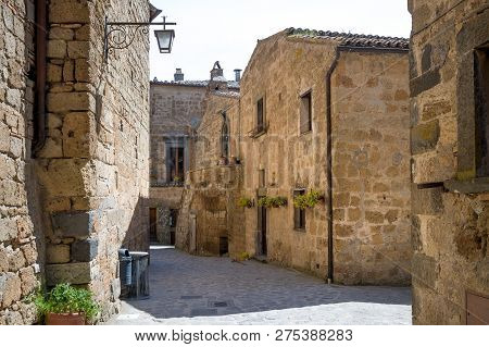 Old Streets Of Civita Di Bagnoregio - Town On The Rocks, Toscany, Italy.