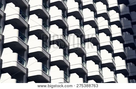 Glass Balconies On Modern Building Facade, Architecture Background. Real Estate, Property, House. Co