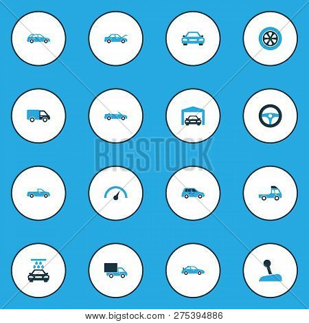 Auto Icons Colored Set With Truck, Convertible Model, Crossover And Other Lorry Elements. Isolated V