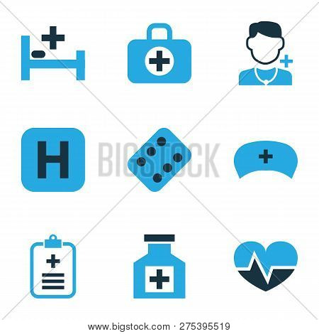 Antibiotic Icons Colored Set With Pulse, First-aid Kit, Hospital And Other Pellet Elements. Isolated